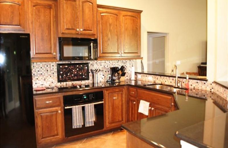Rental kitchen at River City Resorts.