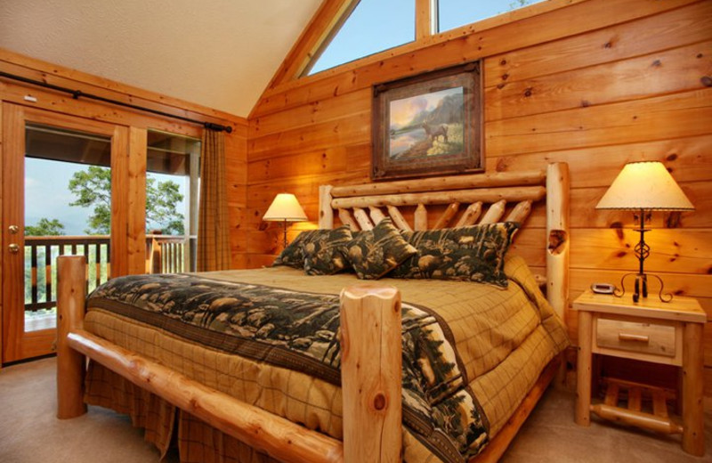 Rental bedroom at Jackson Mountain Homes.