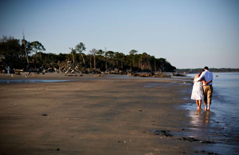 Romantic beach walk at The Beachview Club.