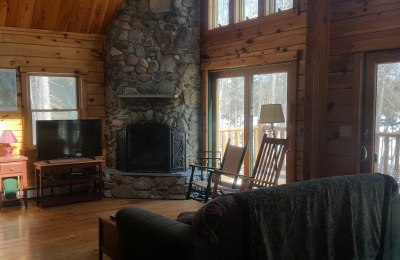 Cabin living room at The Birches Resort.