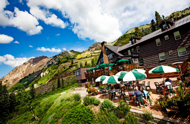 Outdoor patio at Alta Lodge.