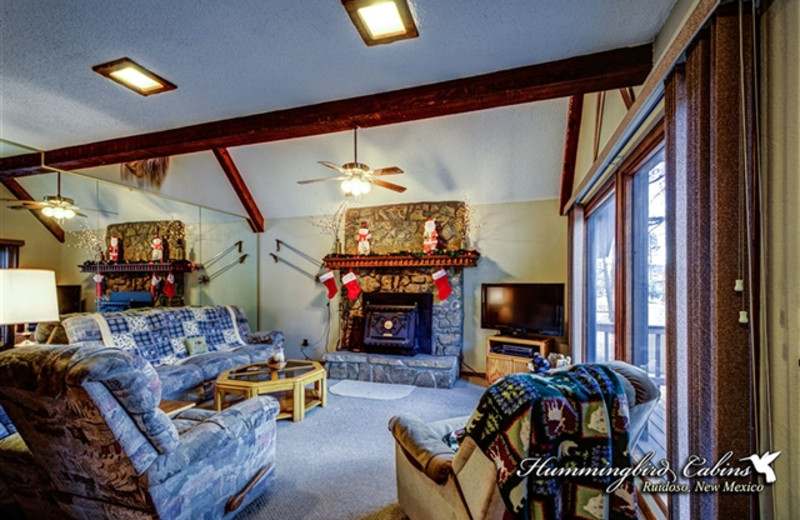 Living Room with Fireplace at Hummingbird Cabins - Timberline Townhouse Vacation Rental