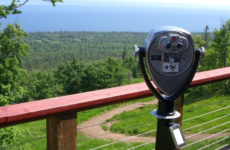Binoculars at Eagle Ridge at Lutsen Mountains.