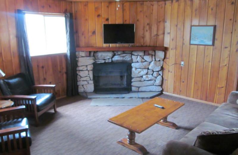Cabin living room at Lazy Oaks Resort.