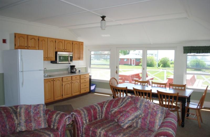 Cottage interior at Sebasco Harbor Resort.