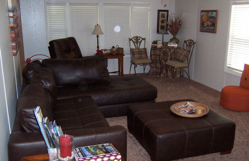 Living room at Sunset Cottage at Lake LBJ.