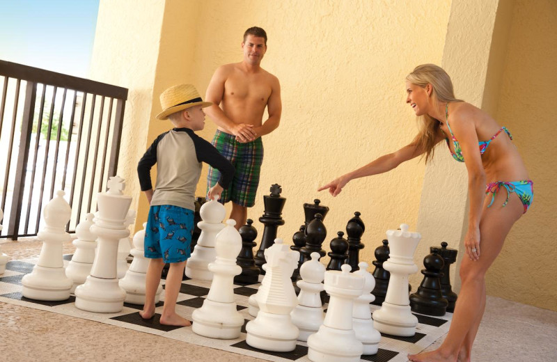 Giant chess at Compass Cove Resort.