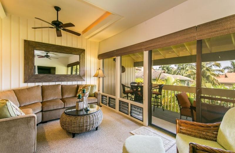 Vacation rental living room at Great Vacation Retreats.