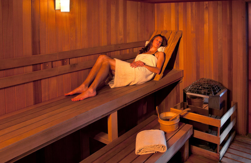 Relaxing in sauna at Edelweiss Lodge and Spa.