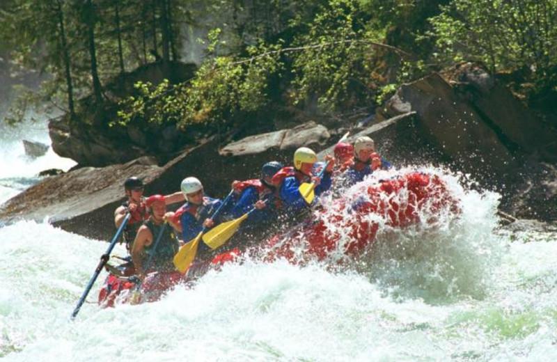 River rafting near Gingerbread Cabin.