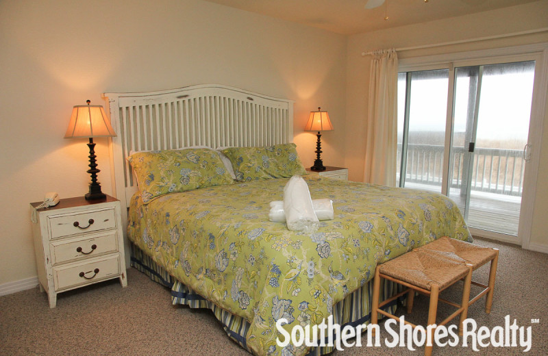 Rental bedroom at Southern Shores Realty.