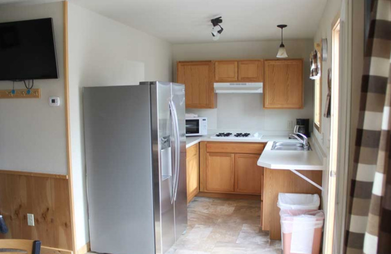 Cabin kitchen at Ballard's Resort.