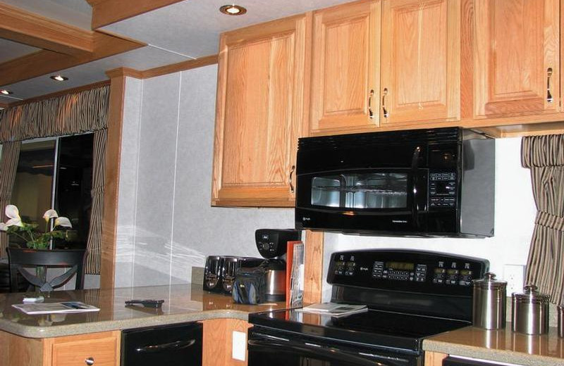 The 70' Silver houseboat kitchen at Cottonwood Cove Resort.