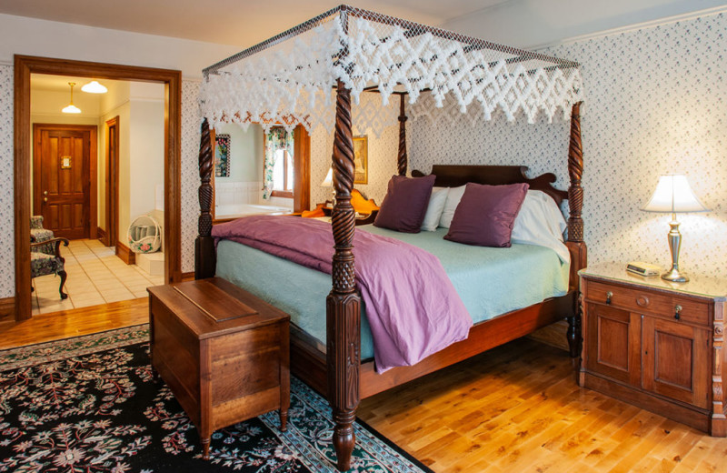 Guest room at White Lace Inn.