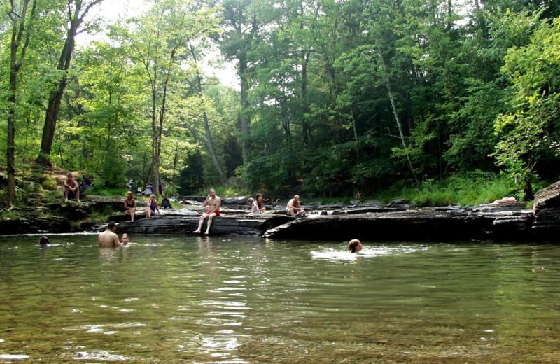 Swimming near Twin Gables of Woodstock.