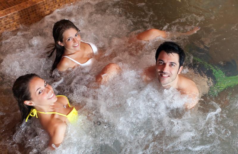 Group in hot tub at Fiddler Lake Resort.