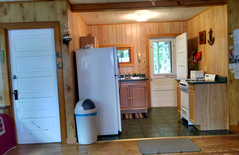 Cabin kitchen at The Arrows Resort.