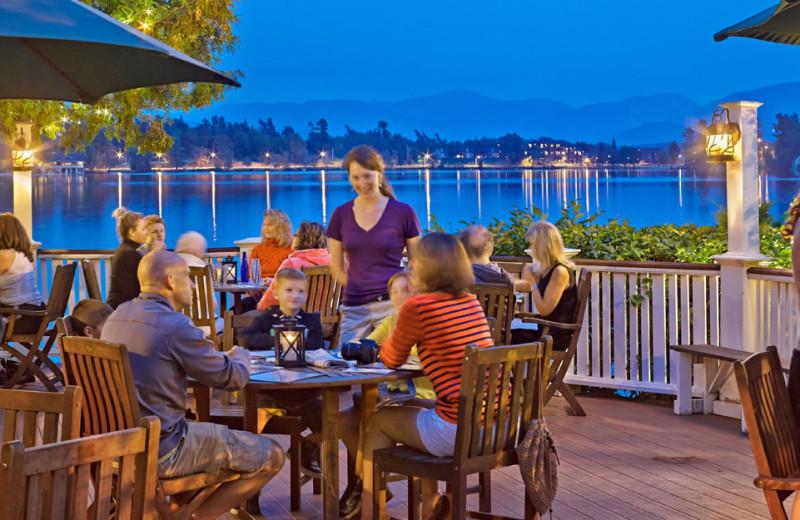 Patio dining at Mirror Lake Inn Resort & Spa.