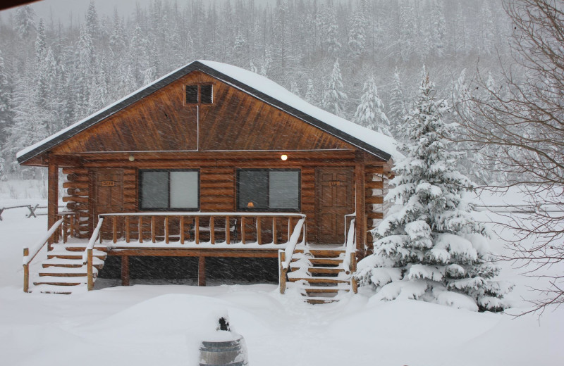 Cabin in winter at Kendall Valley Lodge.