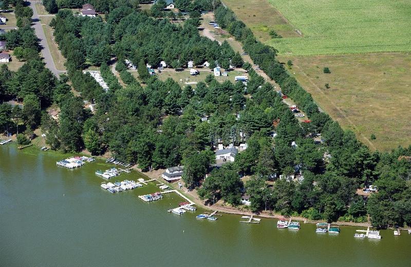 Aerial view of Six Lakes Resort.