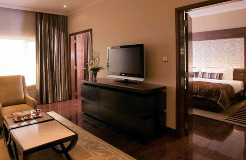Guest room at Taj Palace Hotel.