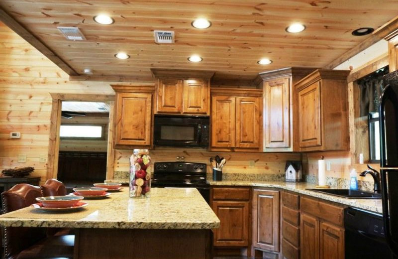 Rental kitchen at Broken Bow Cabin Lodging.