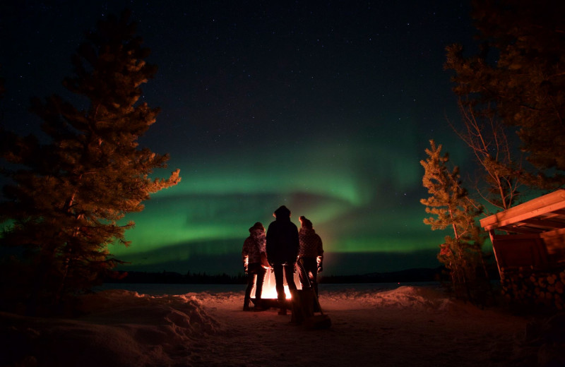 Northern lights at North Pole Cabins.