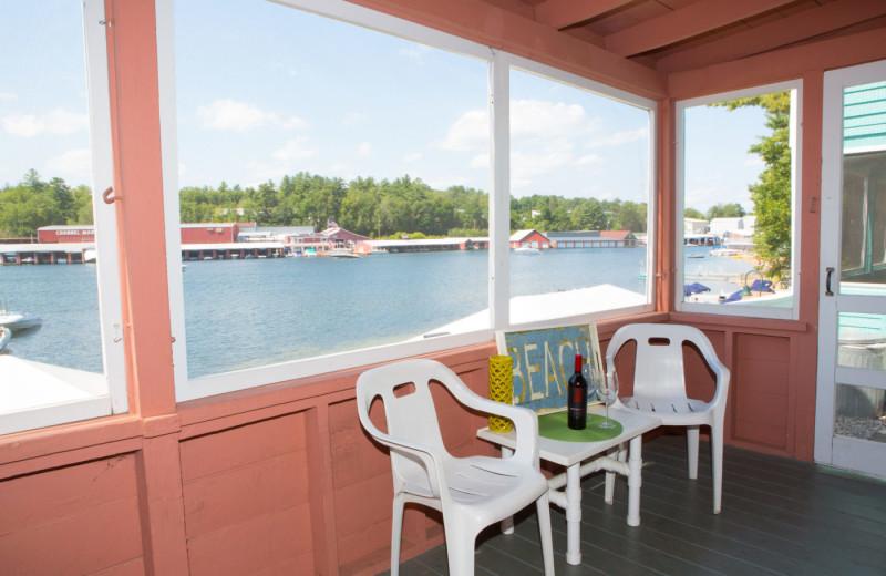 Cottage porch at Naswa Resort.