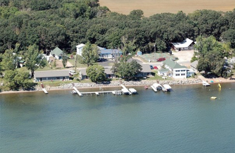 Aerial view of Barky's Resort.