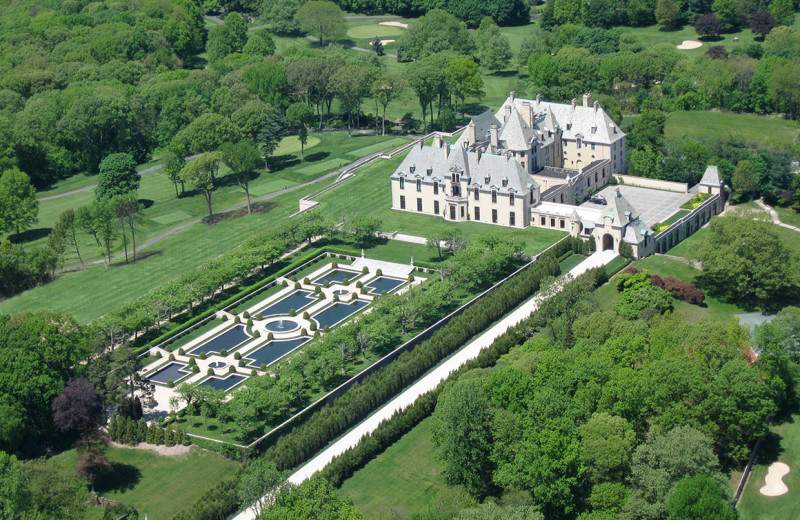 Aerial view of Oheka Castle Hotel and Estate.