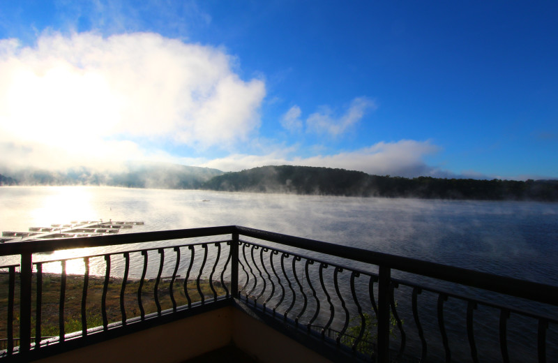 Mist over the lake at D'Monaco Luxury Resort.