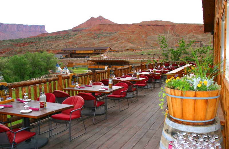 Patio dining at Red Cliffs Lodge.