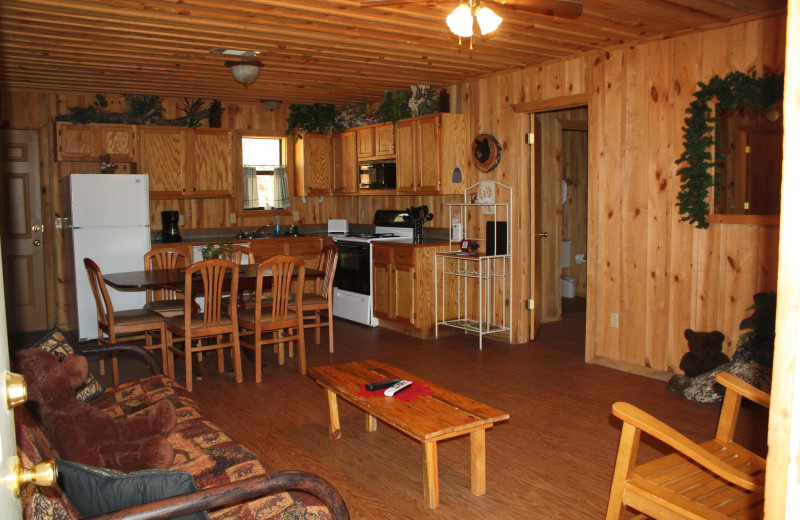 Bear Track interior at Heath Valley Cabins.