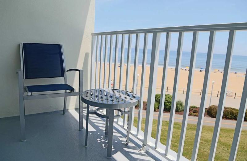Guest balcony at Surfbreak Oceanfront Hotel.
