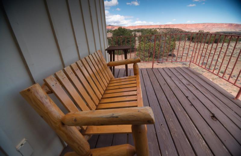 Guest deck at SkyRidge Inn.