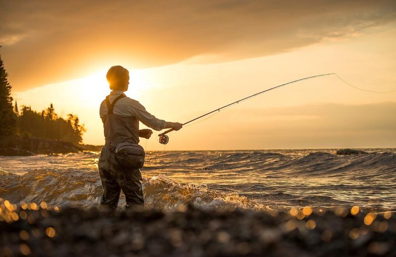 Fishing at Lutsen Resort on Lake Superior.