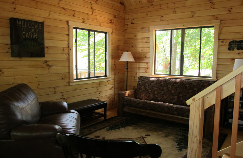 Cabin living room at Niemeyer's Rugged River Resort.