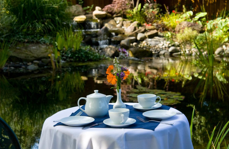 Tea time in garden at Galiano Oceanfront Inn and Spa.