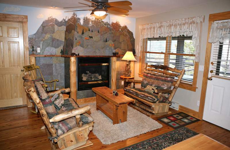 Vacation rental living room at Marys Lake Vacation Condos.