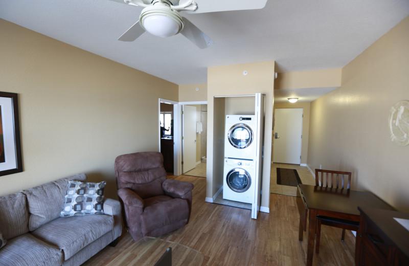 Guest living room at Shoreline Island Resort.