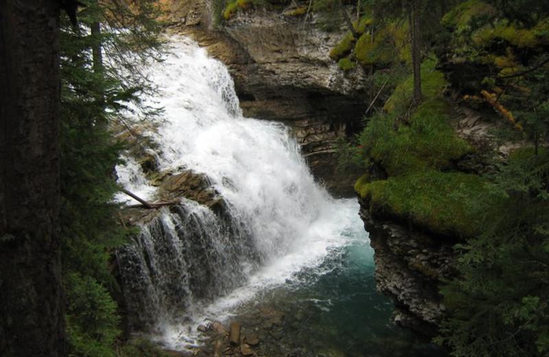 Waterfall at Johnston Canyon Resort.
