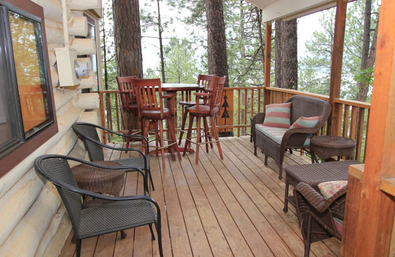 Cabin deck at Pine River Lodge.
