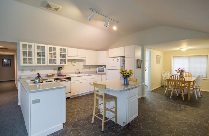 Rental kitchen at Sisters Vacation Rentals.