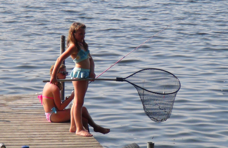 Dock fishing at Woodland Beach Resort.
