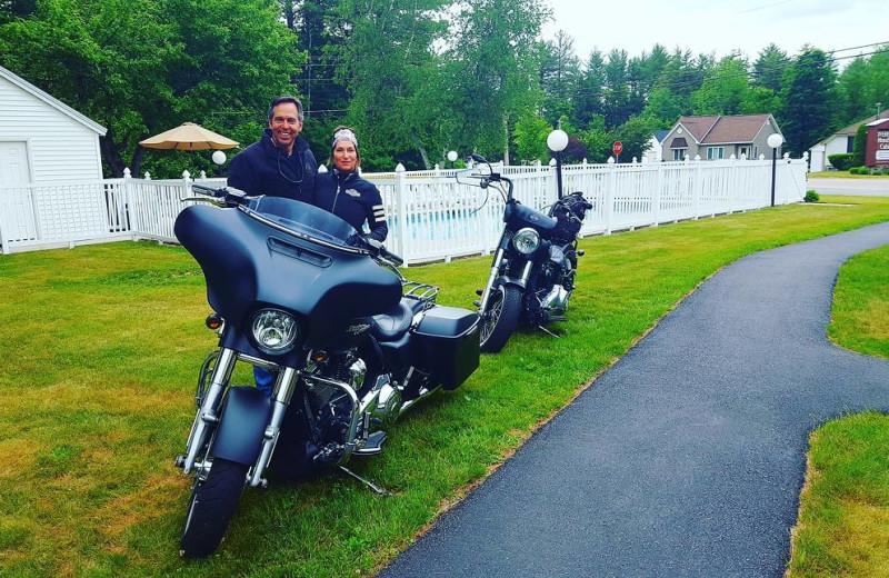 Motorcycles at Riverbank Motel & Cabins.