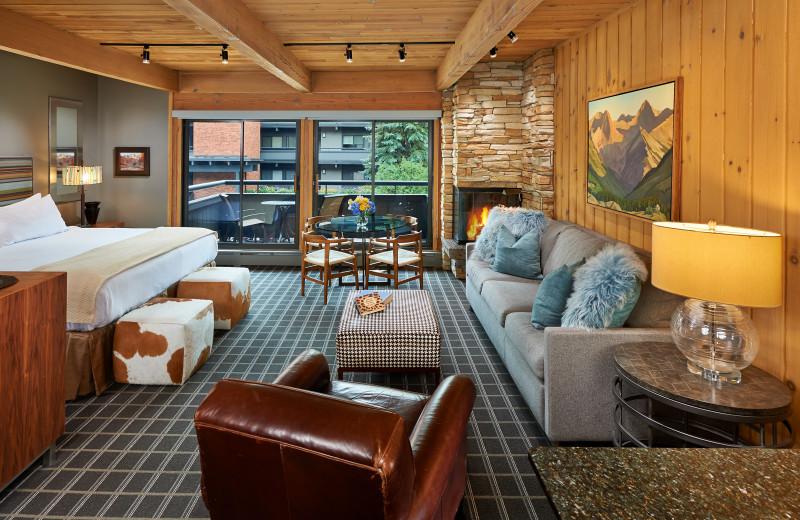 Fireplace studio with balcony view