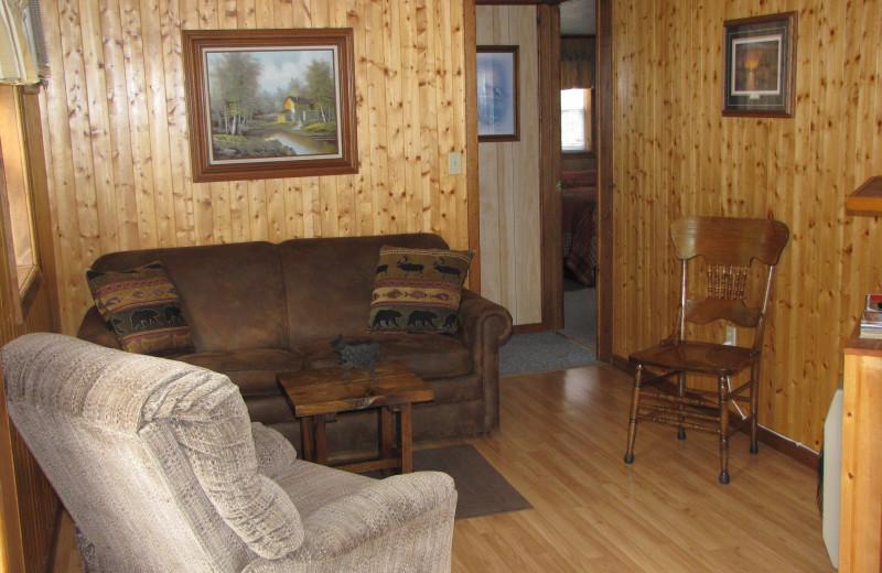 Cabin living room at Mill Lake Resort.