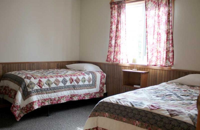 Cabin bedroom at Ballard's Resort.
