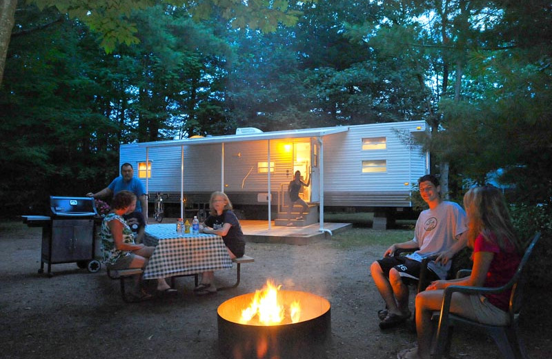 Family campfire at Lake George RV Park.