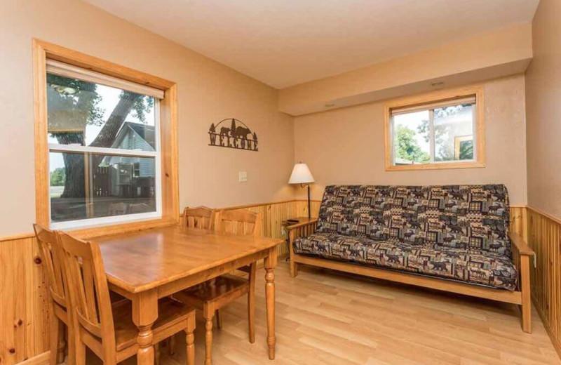 Cabin living room at Barrett Lake Resort.